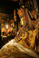 The statue of Jowo Shakyamuni presently enshrined in Jokhang Monastery, Lhasa (Tibet)