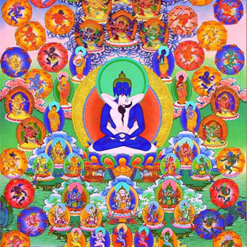 Thangka representing 100 peaceful and wrathful deities
